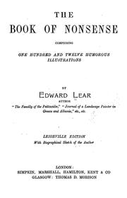 Cover of: The book of nonsense | Lear, Edward