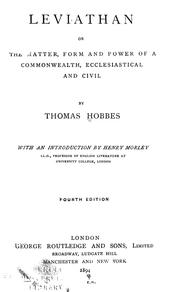 Cover of: Leviathan by Thomas Hobbes