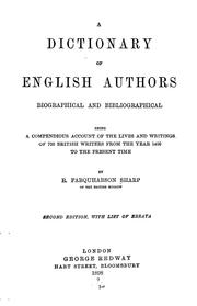 Cover of: A dictionary of English authors, biographical and bibliographical