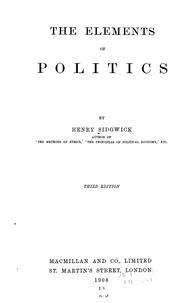 Cover of: The elements of politics