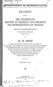 Cover of: Apportionment of representatives
