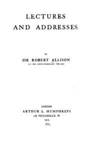 Cover of: Lectures and addresses