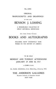 Cover of: Original manuscripts and drawings by the late Benson J. Lossing