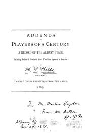 Cover of: Addenda to Players of a century | Henry P. Phelps