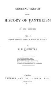 Cover of: General sketch of the history of pantheism. | C. E. Plumptre