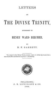 Cover of: Letters on the divine trinity