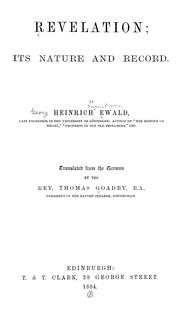 Cover of: Revelation; its nature and record | Heinrich Ewald