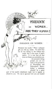 Cover of: A Paradox on women, wherein it is sought to prove that they do not belong to the human species | Valens Acidalius