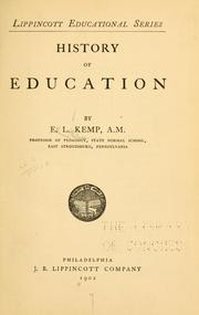 Cover of: History of education | Ellwood Leitheiser Kemp