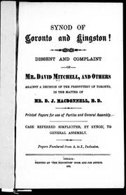 Cover of: Synod of Toronto and Kingston | D. J. MacDonnell