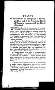 Cover of: By-laws of the Board for the Management of the Temporalities Fund of the Presbyterian Church of Canada in connection with the Church of Scotland | Presbyterian Church of Canada in connection with the Church of Scotland. Temporalities Fund.