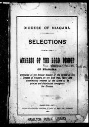 Cover of: Selections from the address of the Lord Bishop of Niagara | T. B. Fuller