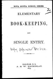 Cover of: Elementary book-keeping by single entry |