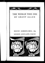 Cover of: The woman who did | Grant Allen