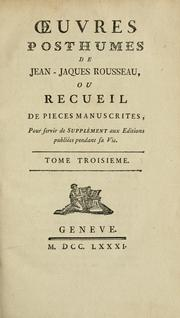 Cover of: Oeuvres posthumes de Jean-Jacques Rousseau | Jean-Jacques Rousseau
