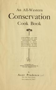 Cover of: An all-western conservation cook book | Chapel, Inie Gage Mrs