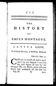 Cover of: The history of Emily Montague by Frances Brooke