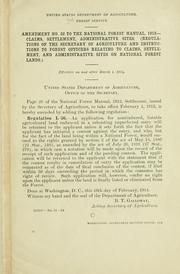 Cover of: Amendment no. to the National forest manual, 1912 | United States. Forest Service.