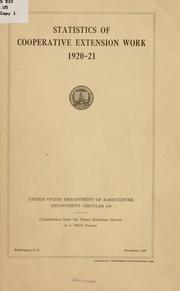 Cover of: Statistics of cooperative extension work. | United States. Dept. of Agriculture.