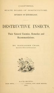 Cover of: Destructive insects by California. State board of horticulture. Division of entomology