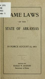 Cover of: Game laws of the state of Arkansas. | Arkansas.