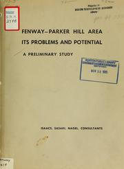 Preliminary report to the sponsors committee: fenway-parker hill area: its problems and potential, Boston, Massachusetts.