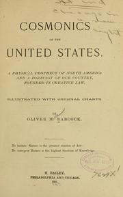Cover of: Cosmonics of the United States | Oliver Morell Babcock