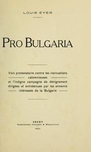 Cover of: Pro Bulgaria by Louis Eyer