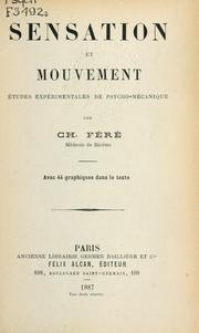 Cover of: Sensation et mouvement