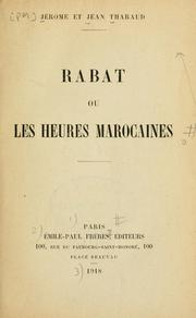 Cover of: Rabat ou les heures marocaines