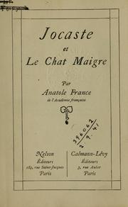 Cover of: Jocaste, et Le chat maigre. | Anatole France