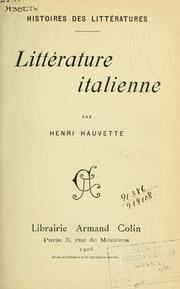 Cover of: Littérature italienne | Henri Hauvette