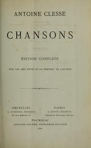 Cover of: Chansons | Antoine Clesse