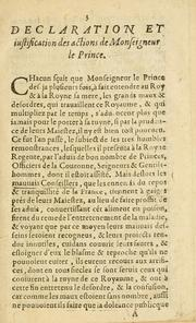 Cover of: Declaration et protestation de monseignevr le prince