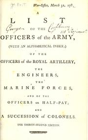 Cover of: A List of the officers of the Army |