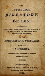 Cover of: The Pittsburgh directory for 1815 by