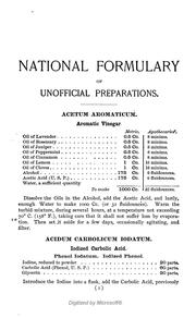 Cover of: The national formulary of unofficial preparations | American Pharmaceutical Association.