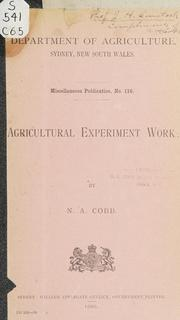 Cover of: Agricultural experiment work | Nathan Augustus Cobb