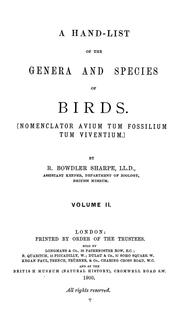 Cover of: A hand-list of the genera & species of birds. | British Museum (Natural History). Department of Zoology