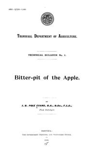Cover of: Bitter-pit of the apple | Illtyd Buller Pole Evans