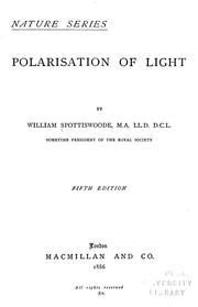 Cover of: Polarisation of light