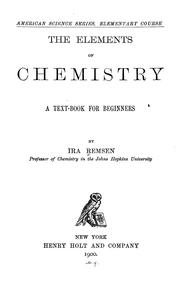 Cover of: The elements of chemistry