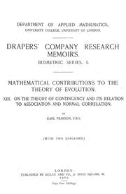Cover of: On the theory of contingency and its relation to association and normal correlation