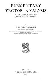 Cover of: Elementary vector analysis