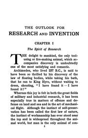 Cover of: The outlook for research and invention, with an appendix of problems awaiting solution | Nevil Monroe Hopkins