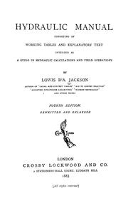 Cover of: Hydraulic manual consisting of working tables and explanatory text | Lowis D