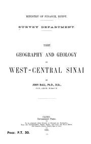 Cover of: The geography and geology of west-central Sinai | Egypt. Maṣlaḥat al-Misāḥah.