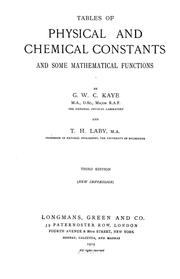 Cover of: Tables of physical and chemical constants and some mathematical functions