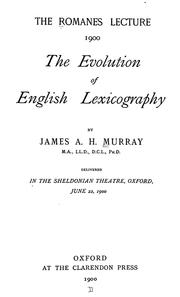 Cover of: The evolution of English lexicography