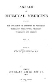 Cover of: Annals of chemical medicine